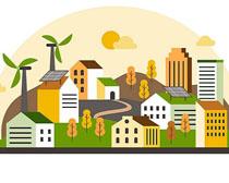 秋天城市建筑风景矢量素材