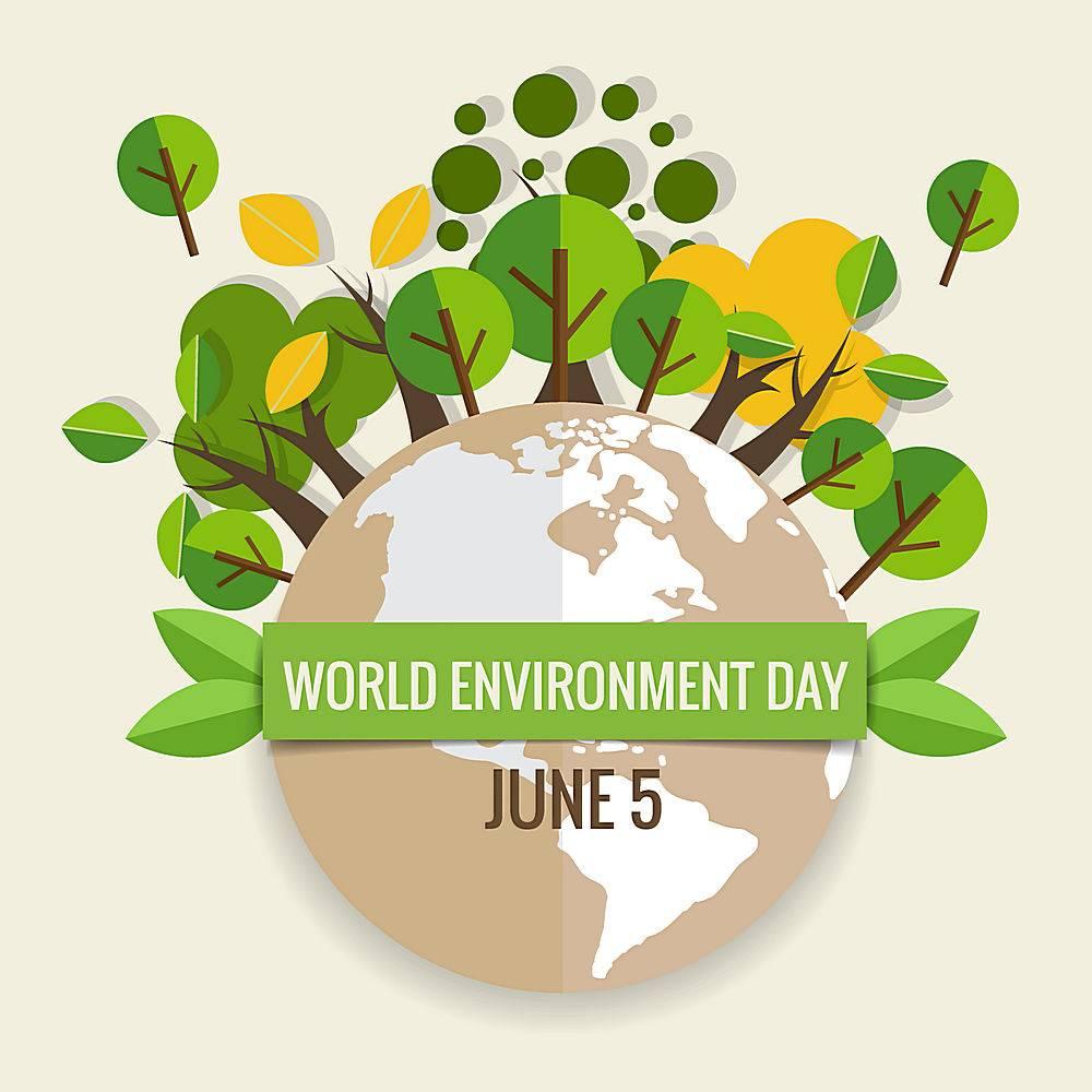 地球绿化树木插画矢量素材