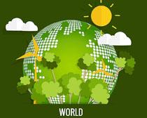 绿色环保地球日矢量素材