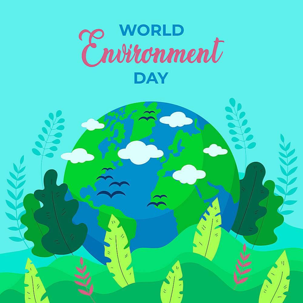 绿化环境地球绘画矢量素材