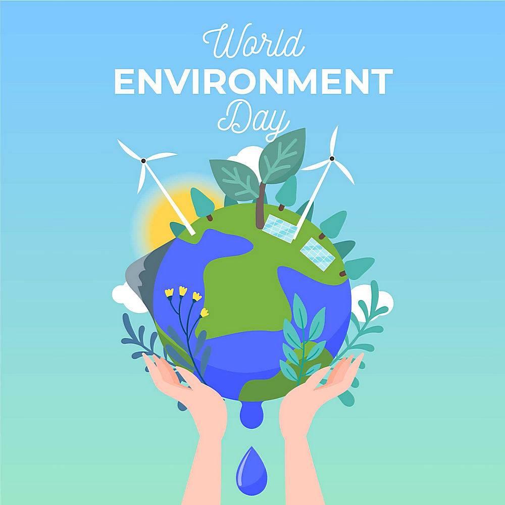 地球风车绿化插画矢量素材