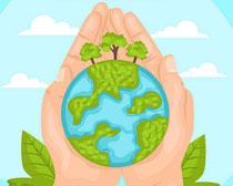 双手保护地球插画矢量素材