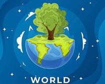 地球绿色森林树木矢量素材