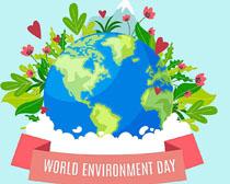 地球花草绿化环境矢量素材