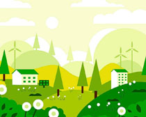 绿化环保风车房屋绘画矢量素材