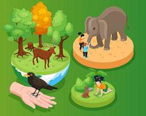 野生动物环境保护矢量素材