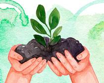 水彩绘画小树苗环保矢量素材