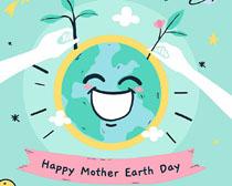 微笑的地球插画矢量素材