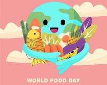 地球与蔬菜食物插画矢量素材