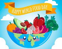 卡通绘画水果蔬菜地球矢量素材
