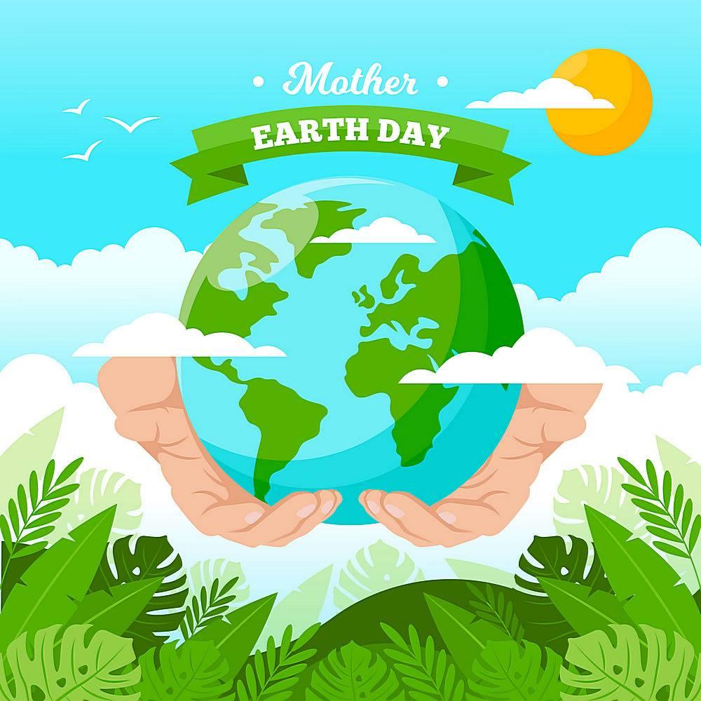 手握地球环保日矢量素材