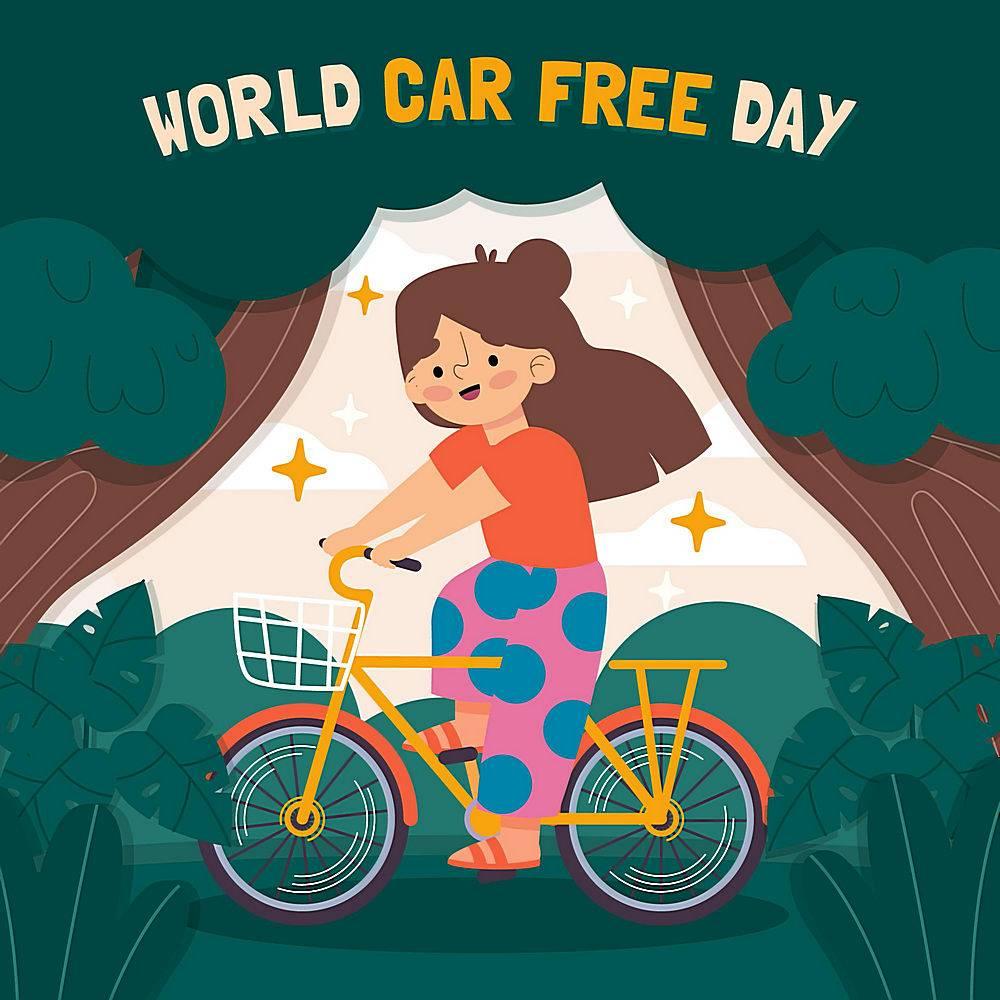 森林环保自行车卡通女孩矢量素材