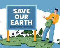 绿化环保地球卡通人物矢量素材