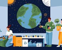 保护环境爱护地球卡通人类矢量素材