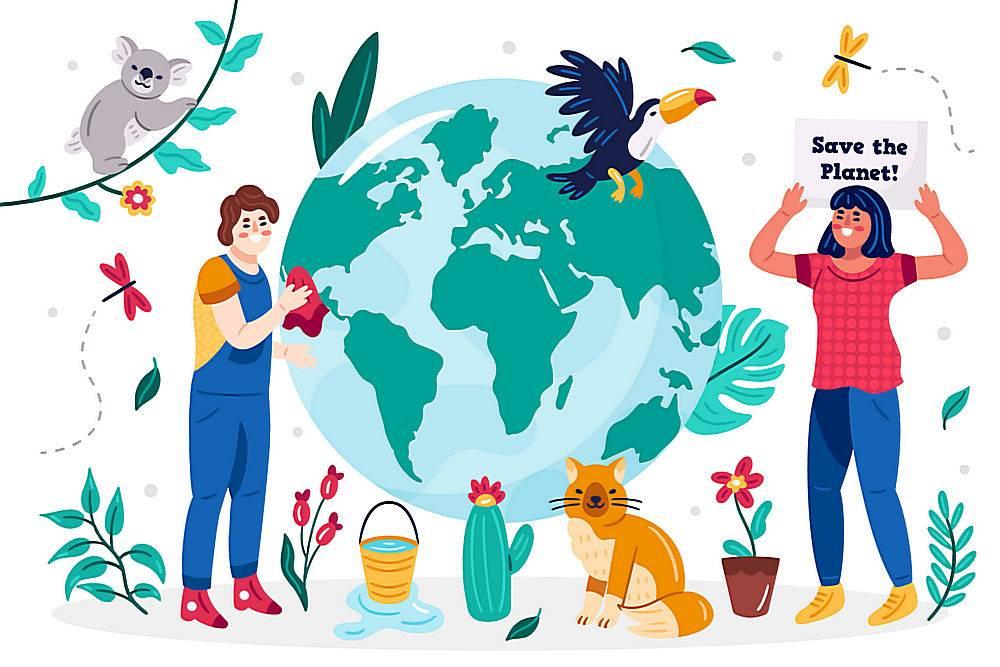 地球植物动物花朵人类矢量素材