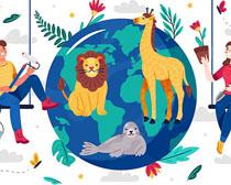 地球生命动植物人类绘画矢量素材