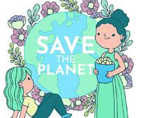 卡通女孩关爱地球环保矢量素材