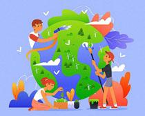 保护地球卡通人类矢量素材