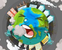 污染环境地球绘画矢量素材