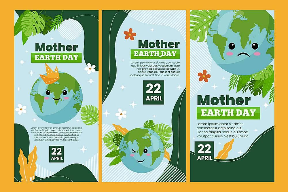 环境地球日宣传矢量素材