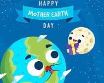 快乐地球送礼卡通绘画矢量素材