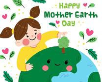 植物环保地球卡通女孩矢量素材