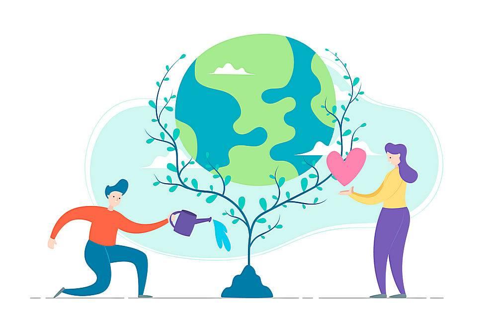 情侣爱情环保地球矢量素材