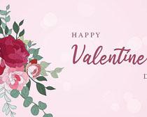 情人节玫瑰花朵背景矢量素材