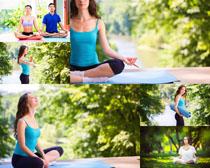 户外瑜伽女人写真摄影高清图片