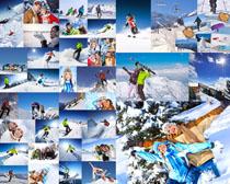 登山上的情侣写真摄影高清图片