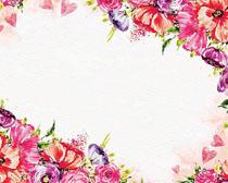水彩花朵背景封面矢量素材
