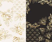 金色花纹背景拍摄高清图片