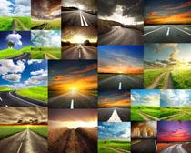 道路風光與田間小路攝影高清圖片