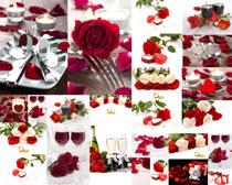浪漫情人节玫瑰花朵餐厅摄影高清图片