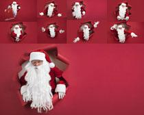 圣诞老人红色背景摄影高清图片