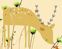 花朵小鹿横幅广告PSD素材