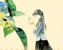 女孩与花叶水墨绘画PSD素材