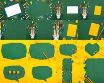 彩色绘画笔装扮剪纸摄影高清图片