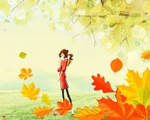 水彩秋天风景枫叶人物绘画PSD素材