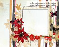 秋天落叶花朵装饰背景PSD素材