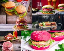 色彩汉堡包美食摄影高清图片