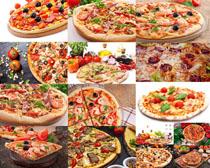披萨与西红柿配料摄影高清图片