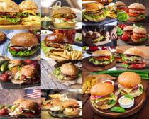 汉堡包薯条酱摄影高清图片