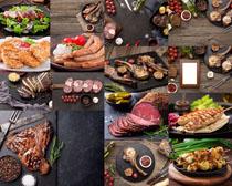 火腿炸鸡牛排美食摄影高清图片