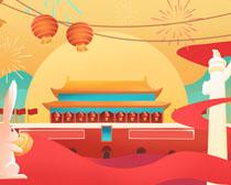 喜庆国庆节宣传背景画PSD素材