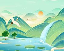 山水艺术风绘画展示PSD素材
