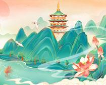 中国风仙境古典绘画PSD素材