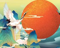 仙鹤国潮绘画展示PSD素材