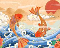 鲤鱼跳龙门绘画风景PSD素材