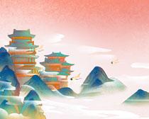 古典建筑与山峰绘画PSD素材
